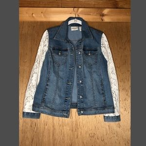 chico's platinum denim jacket size 0